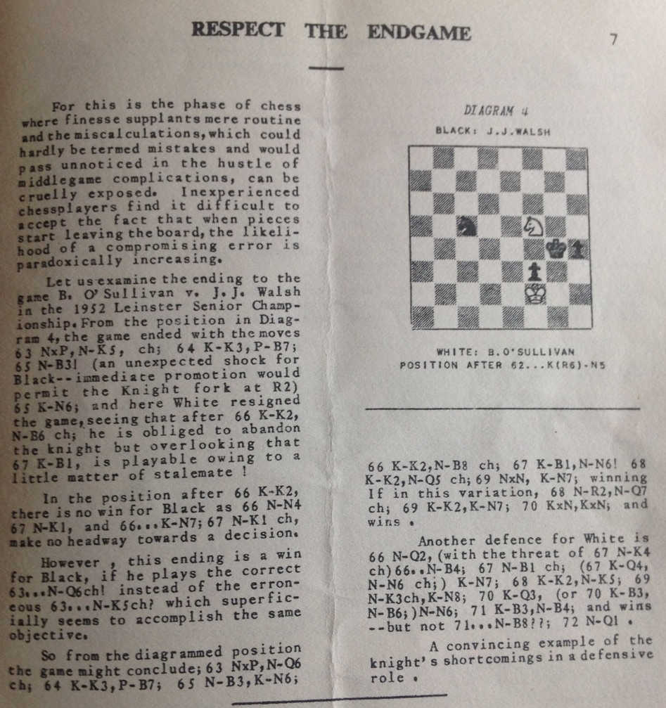 Respect the endgame (B. O'Sullivan-Walsh, Leinster Championship 1952)