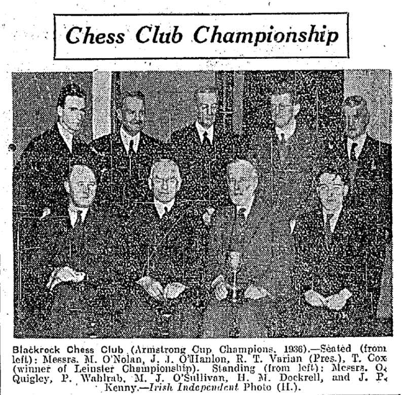 Blackrock, Armstrong Cup champions, 193536